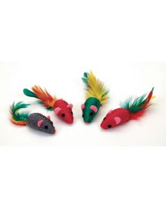 """Rascals Sisal Mouse with Feather Tail 4"""""""