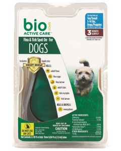 Bio Spot Flea & Tick Spot On for Dogs 5-14lb 3 Month Pack with Applicator