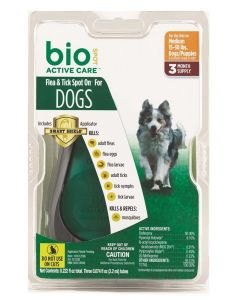 Bio Spot Flea & Tick Spot On for Dogs 15-30lb 3 Month Pack with Applicator