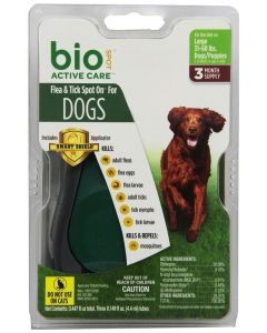 Bio Spot Flea & Tick Spot On for Dogs 31-60lb 3 Month Pack with Applicator