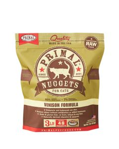 Primal Raw Frozen Cat Food Venison Formula Nuggets 3lb