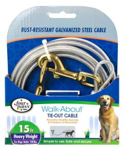 Four Paws Heavy Weight Tie-Out Cable Silver 15'