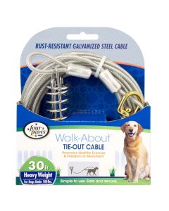 Four Paws Heavy Weight Tie-Out Cable Silver 30'