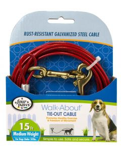 Four Paws Medium Weight Tie-Out Cable Red 15'