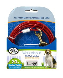 Four Paws Medium Weight Tie-Out Cable Red 20'