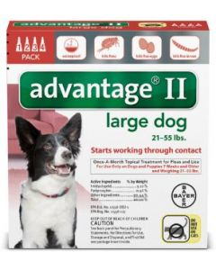 Bayer DVM Advantix II for Large Dogs 21-55lb, 4 Month Supply