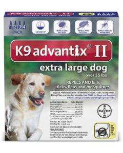 Bayer DVM Advantix II for X-Large Dogs Over 56lb, 4 Month Supply