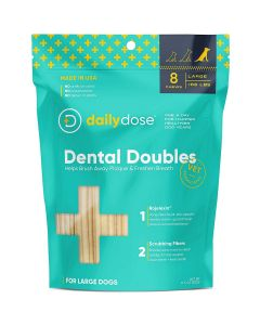 Daily Dose Pet Dental Doubles Large Breed Dog Chews 8Ct
