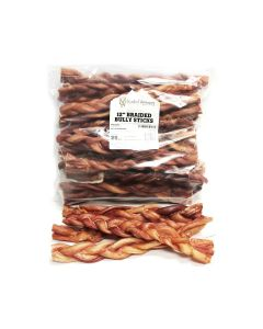 "Natural Dog Company Bully Sticks 12"" Braided Natural Dog 25Pk"