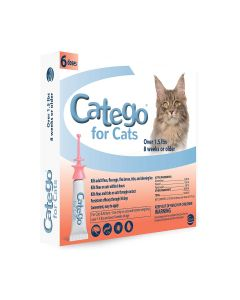 Catego Flea Tick Lice Fast-Acting Treatment For Cats 1.5lb 6 Pack