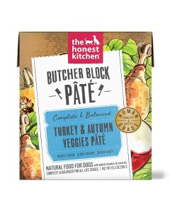 Honest Kitchen Butcher Block Pate Turkey & Autumn Veggies Grain Free Recipe for Dogs 10.5oz