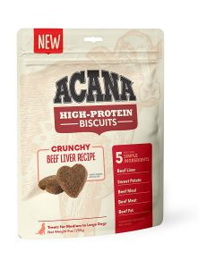Acana High-Protein Biscuits Crunchy Beef Liver Medium Large Breed Dog Treats 9oz