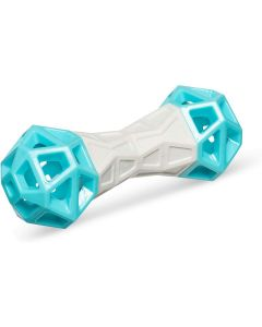 """Messy Mutts Totally Pooched Flex n' Squeak Toy Foam Rubber 7"""" Grey Teal"""
