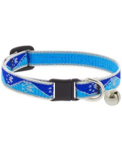 """Lupine Reflective Cat Collar 1/2"""" Wide X 8""""-12"""" Size Neck Blue Paws With Bell"""