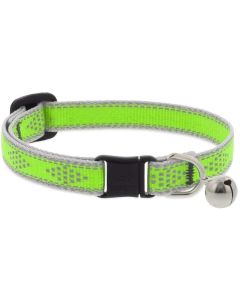 """Lupine Reflective Cat Collar 1/2"""" Wide X 8""""-12"""" Size Neck Green Diamond With Bell"""