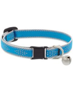 """Lupine Reflective Cat Collar 1/2"""" Wide X 8""""-12"""" Size Neck Blue Diamond With Bell"""