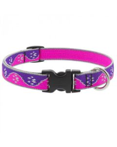 """Lupine Adjustable Dog Collar 3/4"""" Wide X 9""""-14"""" Neck Size High Lights Pink Paws"""