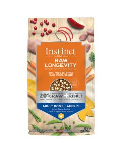 Instinct Raw Longevity 20% Freeze-Dried Raw Meal Blend Grain-Free Chicken for Adults Ages 7+ Dog Food 8.5lb