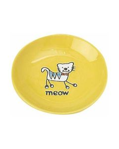 SAUCER SILLY KITTY YELLOW 2.5z
