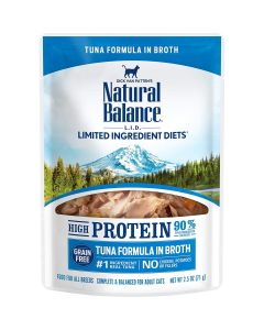 Natural Balance High Protein Tuna Formula in Broth Wet Cat Food 2.5oz Pouch