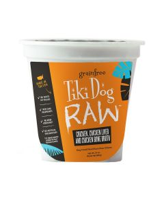 Tiki Dog Raw Chicken, Chicken Liver and Chicken Bone Broth Dog Food 24oz