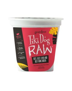 Tiki Dog Raw Beef, Beef Liver and Beef Bone Broth Dog Food 24oz