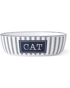 """PetRageous Designs Country Blue Cat 7"""" Overall White/Navy 2 Cups Bowl"""